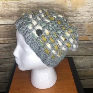 Pistil mixed media knit slouchy beanie hat boho